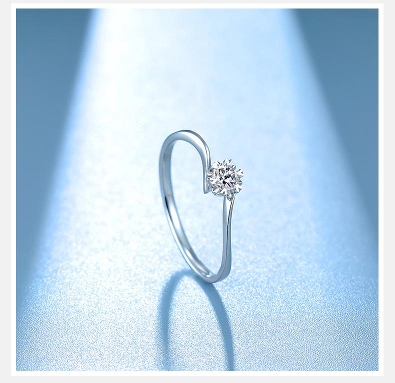 週六福金钻石戒指女璀璨求婚六爪克拉婚戒官方旗舰店新年礼物详细照片