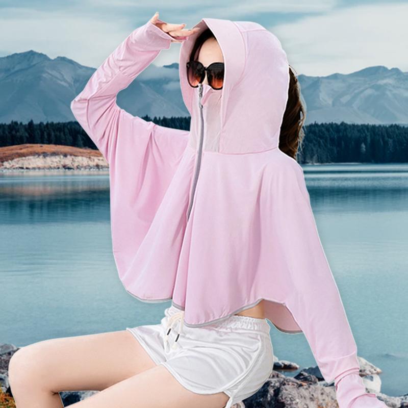 防晒衣女2020夏季新款韩版百搭户外防晒薄款骑车遮脸披肩透气服潮