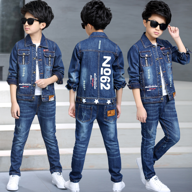 2020 new Big Boy children spring cowboy suit boy children's clothing 10 handsome 15 years old Tide 2019 Winter