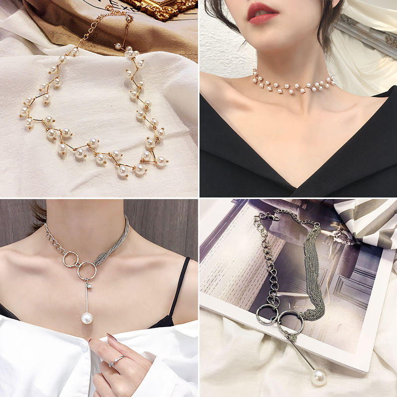 8# White Pearl Gold + Long Pearl Two-piece Set