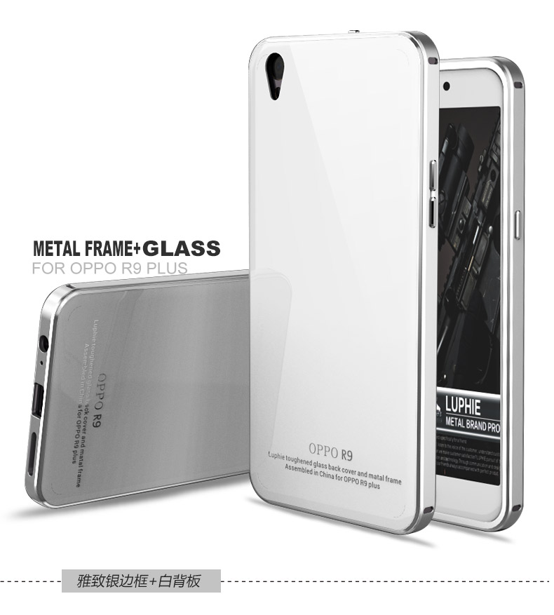 Luphie Aircraft Aluminum Metal Frame 9H Tempered Glass Back Cover Case for OPPO R9 Plus
