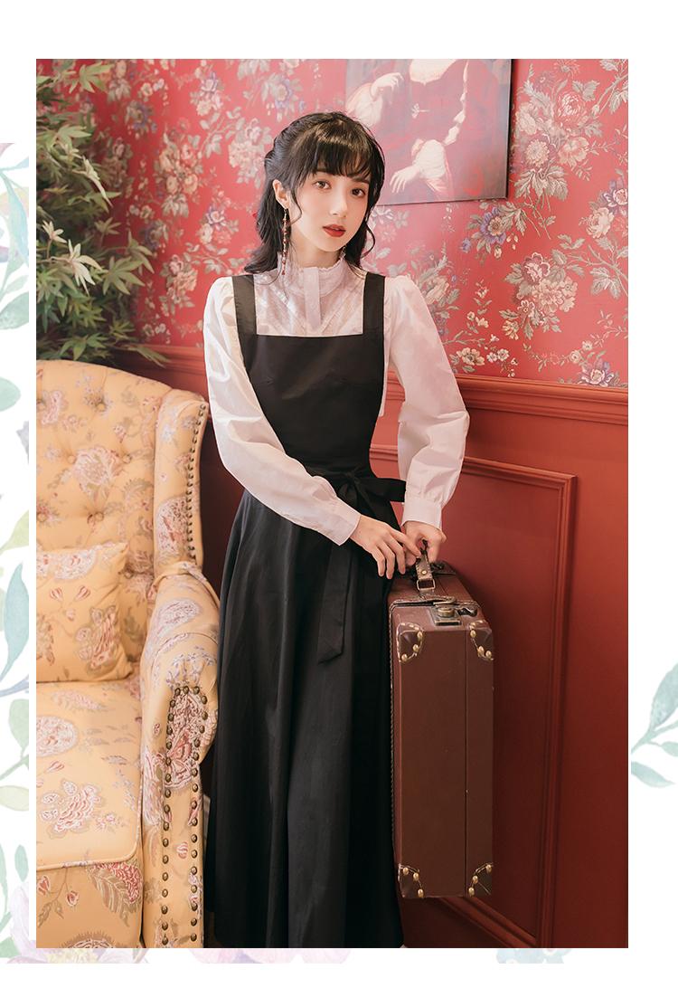韓日美代購2021新款秋新款學院風套裝復古洋氣質上衣色顯瘦背帶長裙減齡時尚