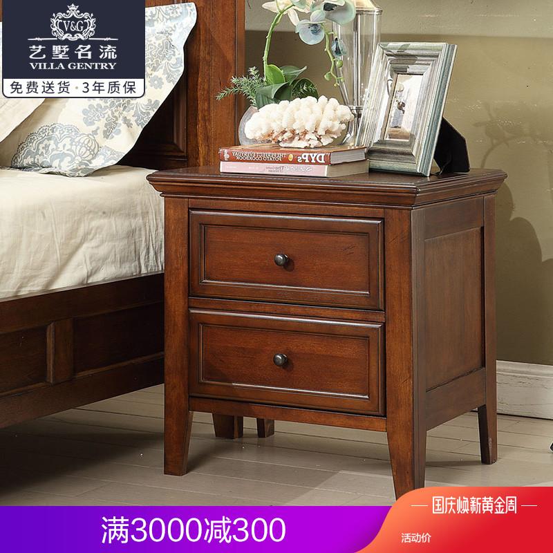 美式鄉村實木床頭柜歐式現代北歐簡約臥室迷你簡易復古儲物柜