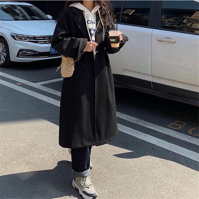 韩国东大门宽松加厚冬季新品呢子大衣女bf中长款过膝夹棉毛呢外套