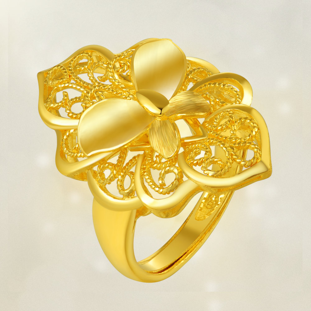 Usd 669 44 Chinese Gold Full Gold Live Ring Butterfly Wedding Ring