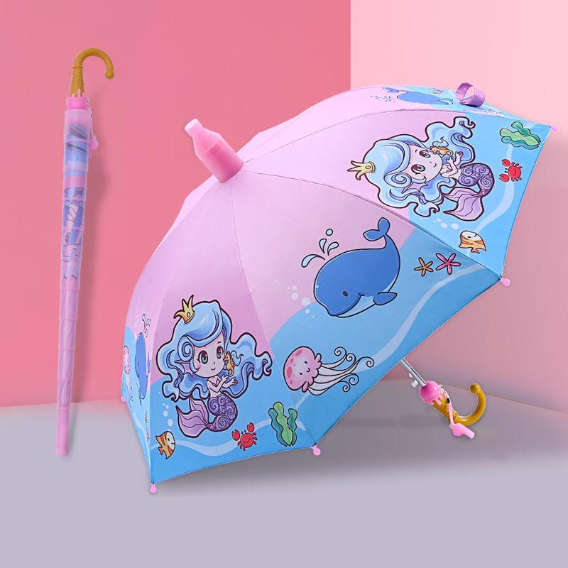 晴雨两用黑胶儿童雨伞男女学生幼儿园卡通半自动防水套长柄晴雨伞