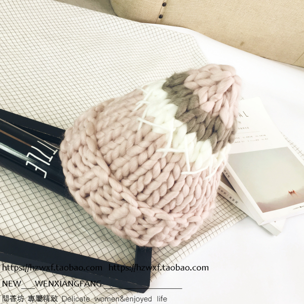 Super thick wool thick stripe color matching warm black knit cap NHHY148297