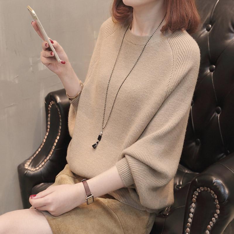 悦米娜春秋装新款蝙蝠衫套头宽松上衣显瘦纯色针织衫蝙蝠袖毛衣女