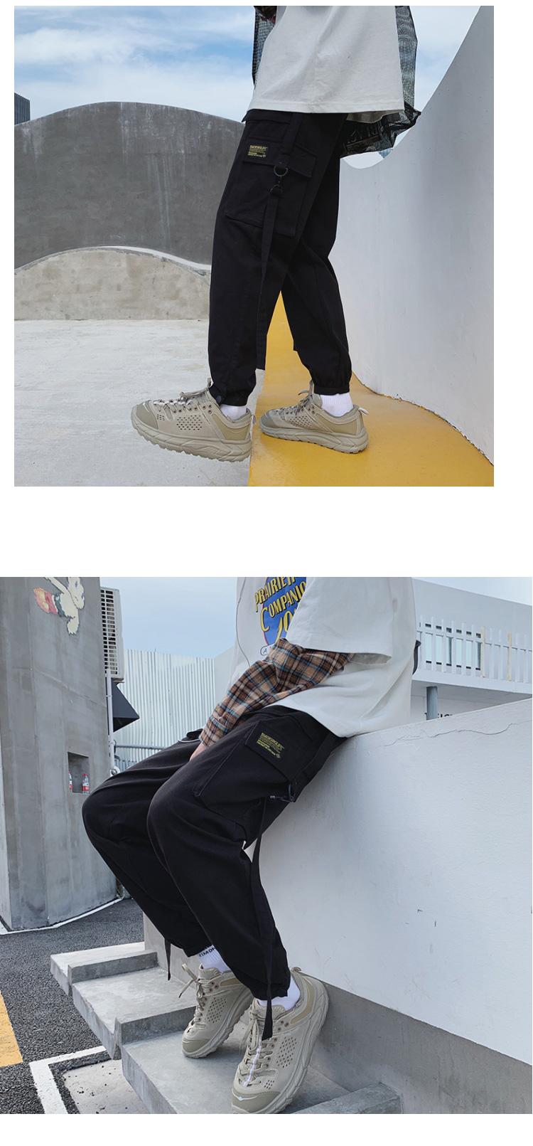 2020春季新款休闲工装裤宽松港风大码束脚裤哈伦九分裤K822-P55
