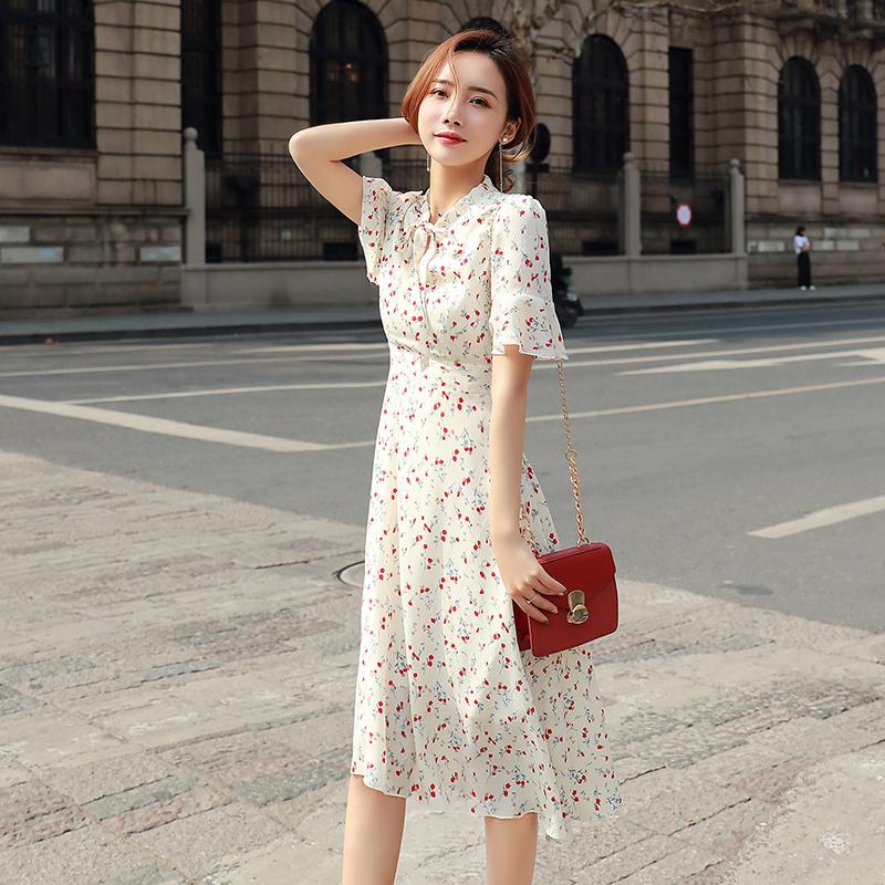 小气质长裙的连衣裙女小个子2019夏季中长款系带韩国雪纺碎花超仙
