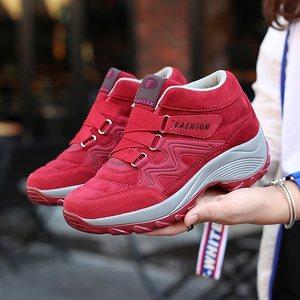 软底轻便妈妈鞋防滑厚底中年女鞋 舒适健步鞋运动鞋女摇摇鞋秋季