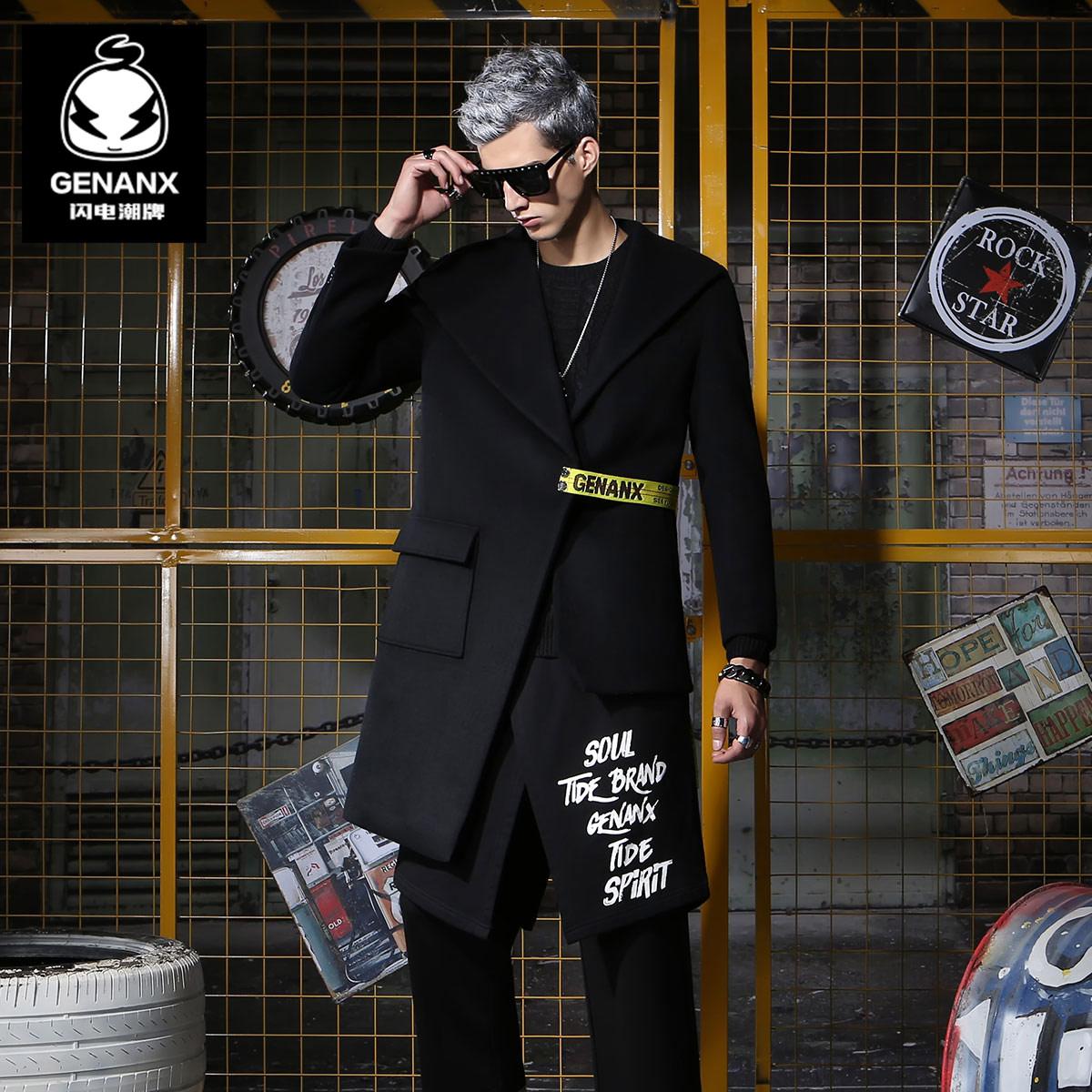 GENANX原创设计师潮牌长短不规则下摆腰带设计羊毛呢大衣外套国潮
