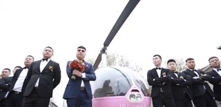 Helicopter wedding Weifang helicopter wedding to pick up the bride Helicopter to pick you up Helicopter to get married
