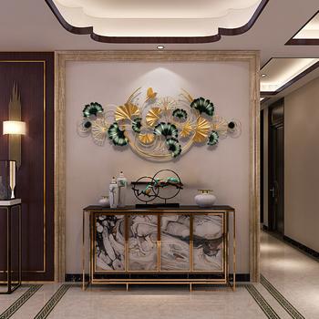 Новый китайский стиль серебро абрикос лист кулон гостиная диван телевидение фон метоп металл железо брелок декоративный статья настенный, цена 4197 руб