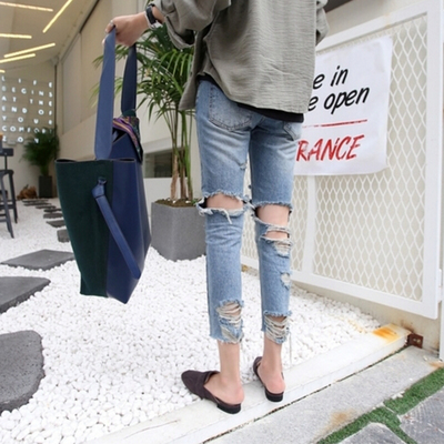 Summer high waist fat mm nine jeans large size 200 pounds loose was thin beggar hole feet pants tide