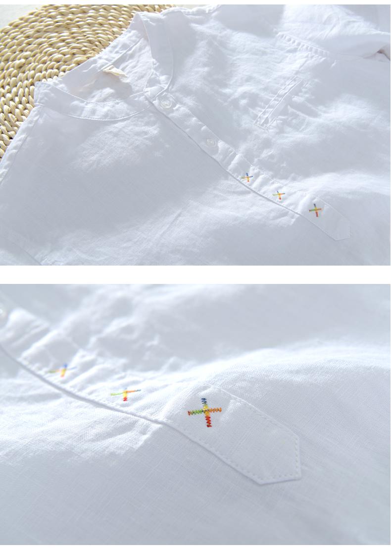 夏季亚麻T恤男短袖宽松立领棉麻料衣服薄款精神小伙沙滩度假小衫商品详情图