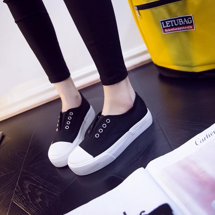小白鞋黑白色帆布鞋女正韓懶人鞋布鞋厚底樂福鞋休閒 【安可居】