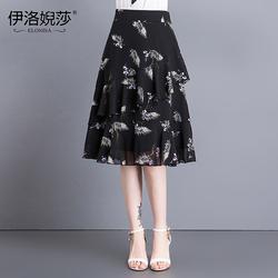 半身裙女夏季高腰碎花鱼尾裙蛋糕裙雪纺长裙印花修身显瘦性感中裙
