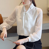 Chiffon shirt female sleeve 2021 spring new Korean version of the bow temperament light jacket professional white shirt