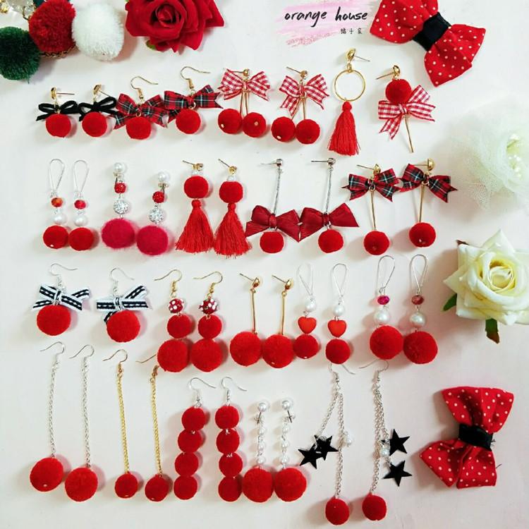 红色毛球耳环。韩国秋冬星星流苏长款显脸瘦耳坠蝴蝶结短款耳钉女