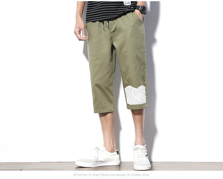 Trung quốc in ấn phong cách cắt quần nam mùa hè cộng với chất béo kích thước lớn lỏng Harlan nửa quần xu hướng sinh viên 7 quần