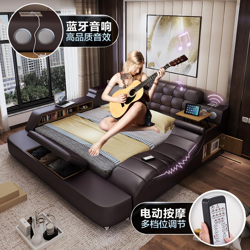 Простой современный господь ложь кожа кровать татами дерма кровать 1.8 3м кровать массаж королева многофункциональный оригами кровать