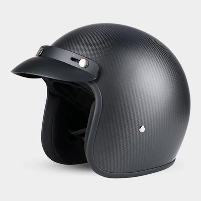 碳纤维头盔男女轻便式机车复古半盔四季防晒个性酷电动摩托车头盔