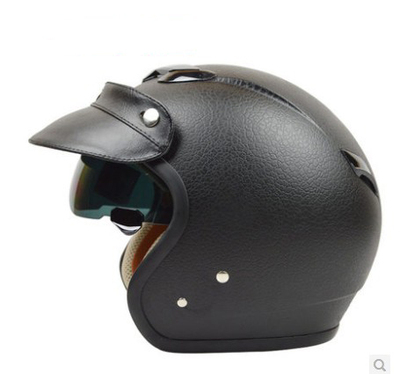 ZEUS瑞狮头盔复古头盔春秋夏防晒半覆式男女太子盔381摩托车半盔