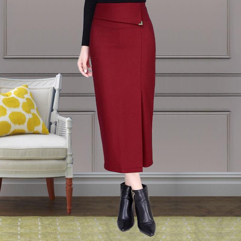 毛呢半身裙中长裙秋冬新款时尚高腰包臀裙过膝冬裙一步裙长裙