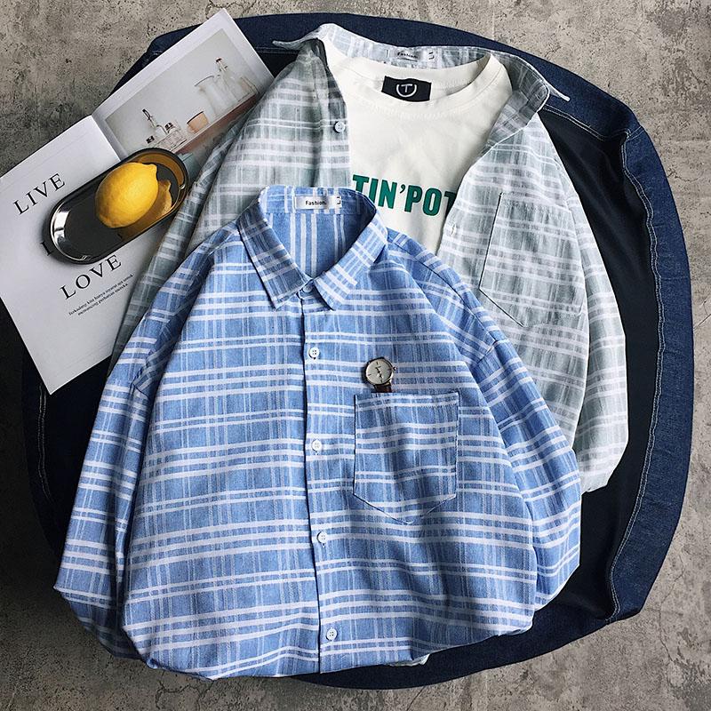 港风格子衬衫男长袖韩版潮流帅气学生衬衣ins网红抖音外套帅t