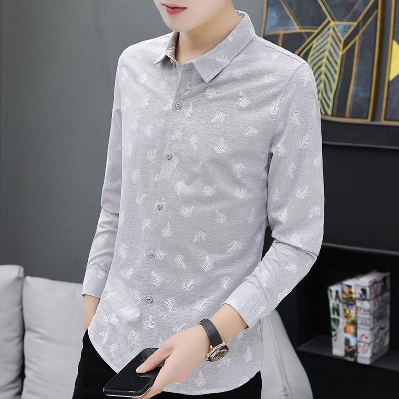 2019新款修身长衬衫青少年韩版潮流时尚休闲男装百搭超火衬衫