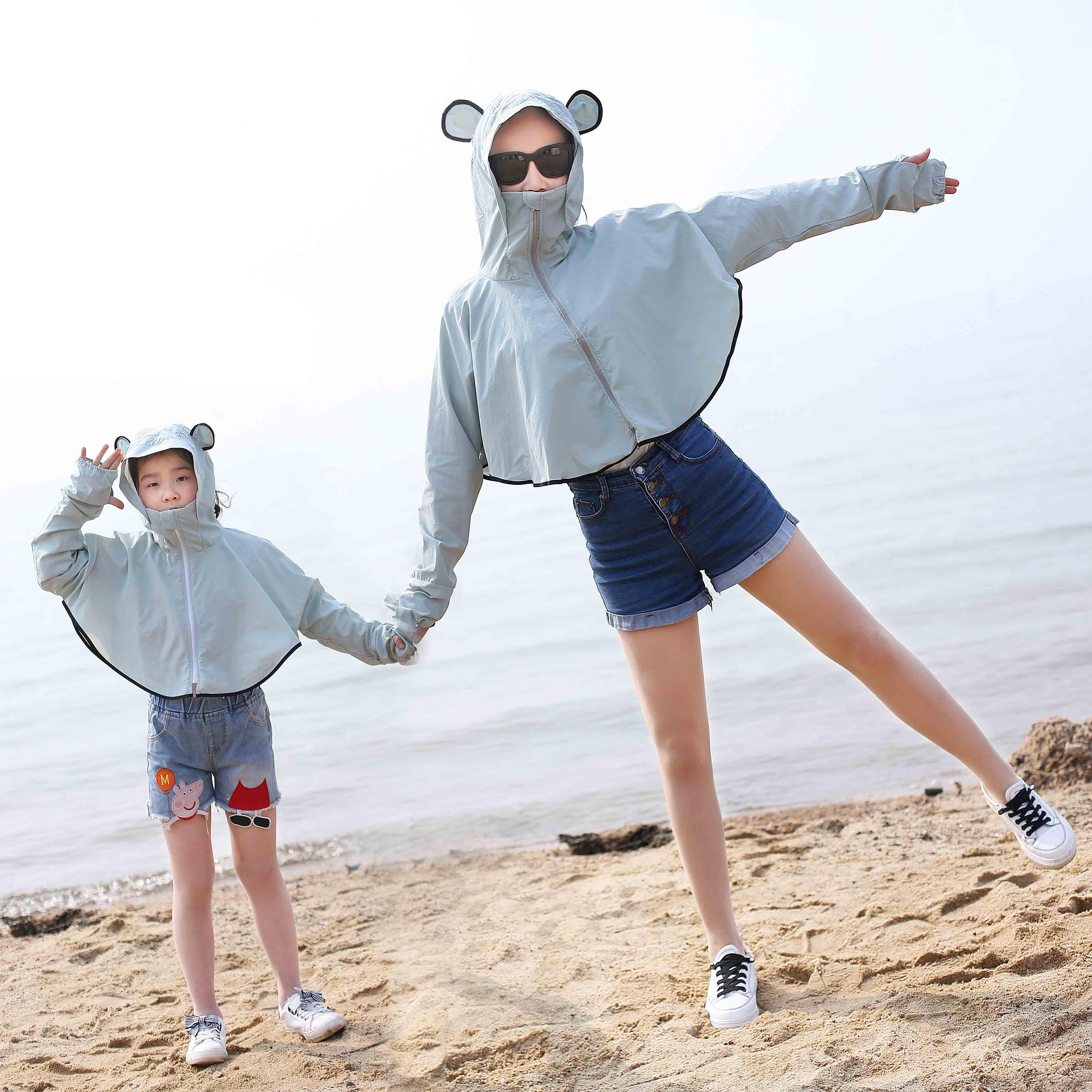 防晒衣女2019夏季亲子骑车衫海边沙滩服长袖薄款透气外套