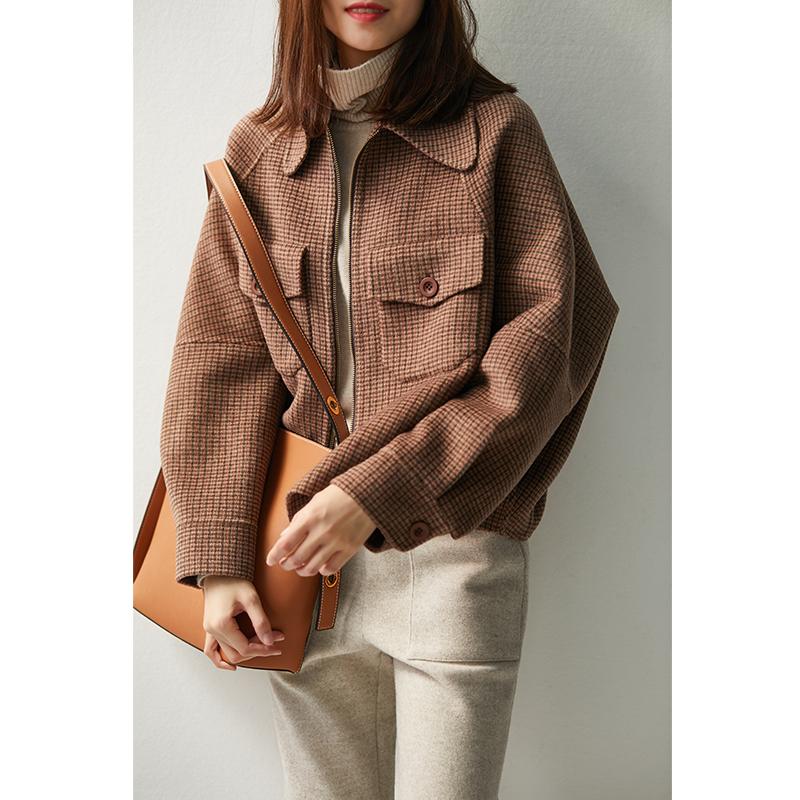 の[WT116116AG] 笑涵阁 千鸟格纹 精纺羊毛 手工双面呢廓形短外套