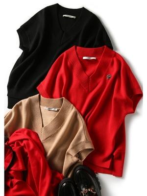 の[ZY258251AG] 笑涵阁各种时髦好穿搭温暖羊毛V领不规则针织背心