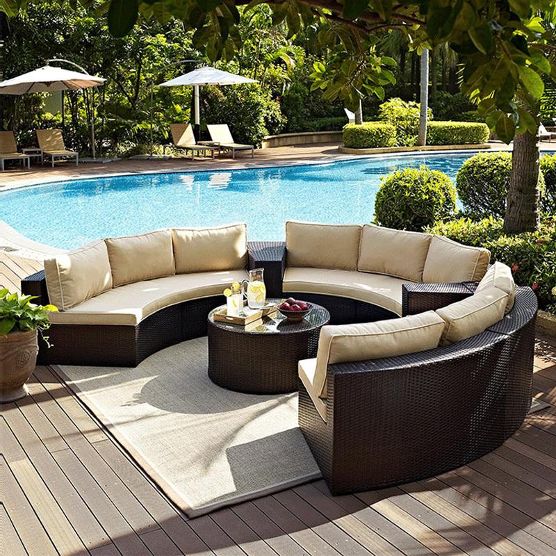 Открытый ротанга диван во внутреннем дворике солярия изогнутый круглый диван сочетание солнцезащитный крем водонепроницаемый Садовая лоза для отдыха диван