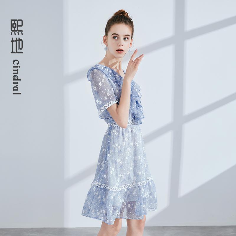 【熙地】连衣裙女温柔裙收腰中长显瘦