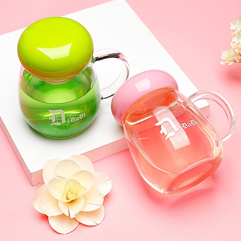 Water cup female student creative glass children's office flower tea cup home water cup girl scuptea cup 370ml