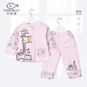 钓鱼猫婴儿棉衣3-6个月秋冬宝宝棉服薄棉立领齐腰两件套外出套装