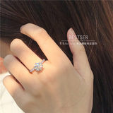 Bicolor Bestser Nude Diamond Engagement Ring Female Genuine Male One 1 Carat 50 Points Marriage Proposal