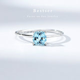 Color BestSer Sea Blue Ring 18k Gold Small Fresh Delivery Valentine's Day Gift