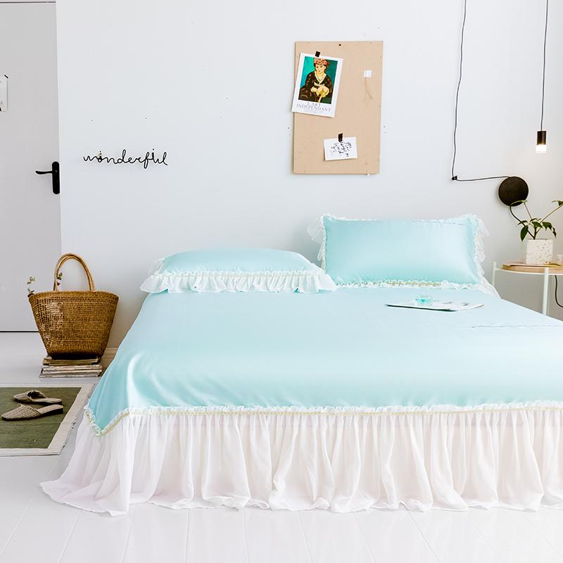 Mùa hè mat băng lụa mat ba mảnh váy ren 1,8m giường gạo có thể giặt gấp mùa hè điều hòa không khí mềm mat - Thảm mùa hè