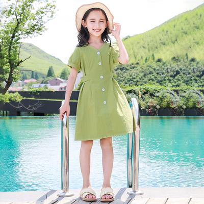 女童纯棉连衣裙夏季10中童12岁女孩夏装14大童夏天洋气公主裙子11