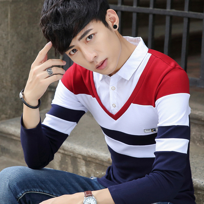 Spring fashion hit color long-sleeved t-shirt male spring fake two shirt collar teen Slim lapel compassionate men