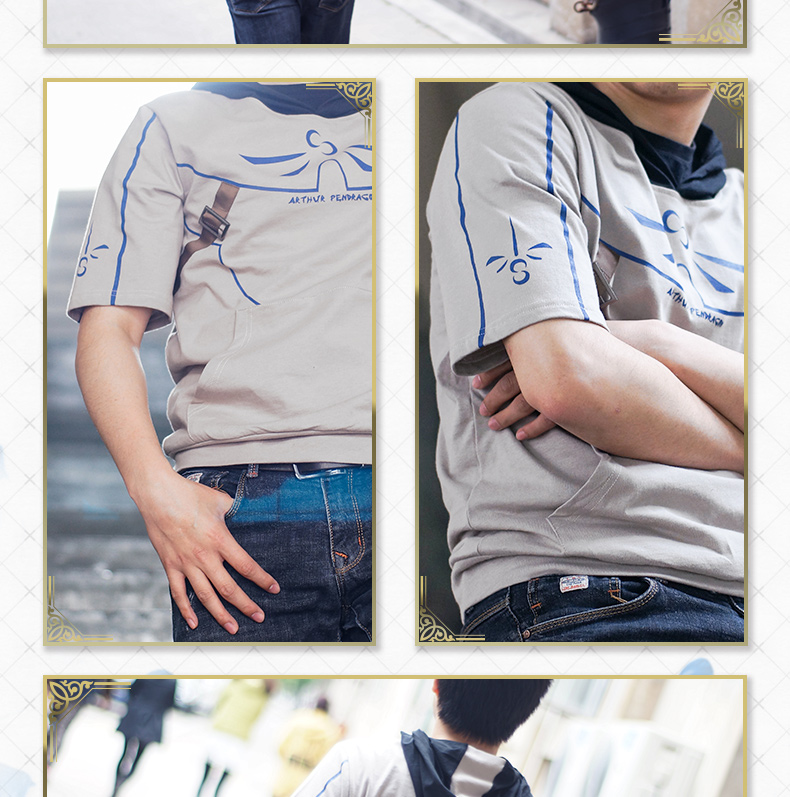 Fate Grand Order Saber T Shirt with hat Cotton Cos Gift Boy/'s T Shirt Kids