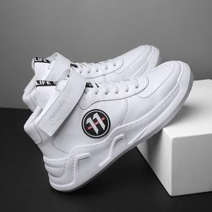 德克森高帮鞋男士潮鞋真皮运动休闲鞋子男板鞋秋季白色高邦老爹鞋