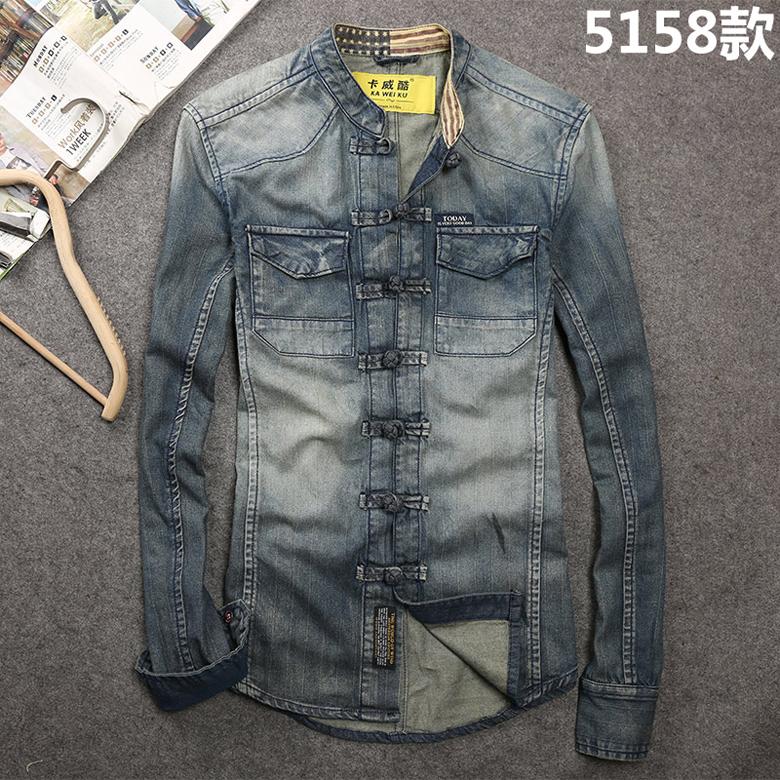 Kawy cool tide men spring and autumn new collar shoulder wash denim shirt men's long-sleeved shirt jacket top 58 Online shopping Bangladesh