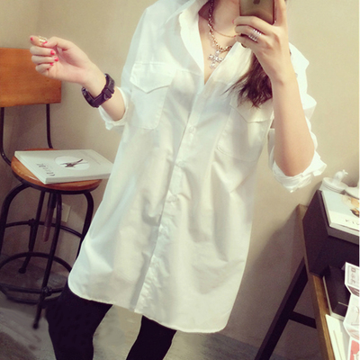2016 autumn and winter new large size women loose was thin in the long section of the white shirt shirt long-sleeved students shirt