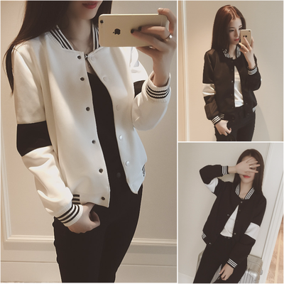 2016 women's new loose was thin black and white hit color casual sports baseball shirt short jacket student jacket female