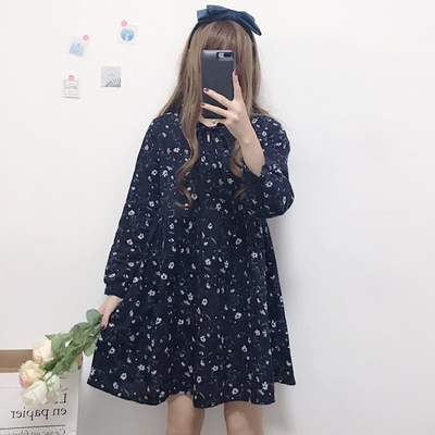 Autumn new women loose was thin neckline tie students wild floral small fresh long-sleeved doll dress