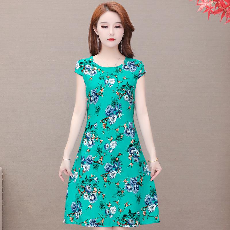 中年人夏装裙子棉绸中老年女装碎花连衣裙妈妈装短袖绵绸长裙大码